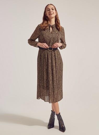 Monamoda Eteği Piliseli Astarlı Şifon Elbise Kahve
